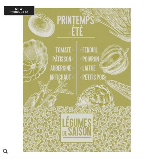 $25.00 De Saison Legumes Tea Towel - Lettuce