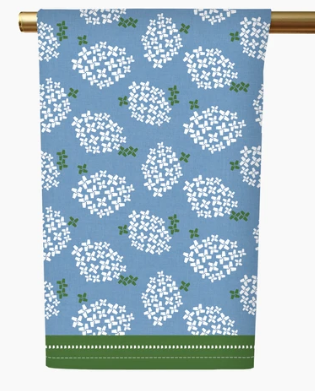 Honey + Hank   Alabama Hydrangea Tea Towel - French Blue $20.00