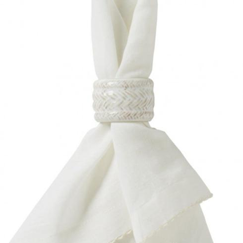 $36.00 Le Panier Whitewash Set of Four Napkin Rings - LIMITED AVAILABILITY