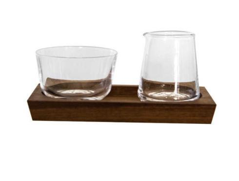 Simon Pearce  Ludlow Cream and Sugar Set w/ Wood Base $145.00