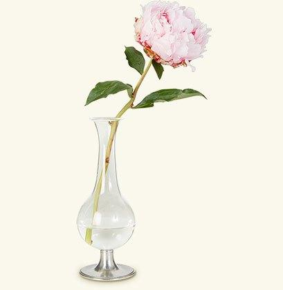 Pewter Footed Glass Bud Vase