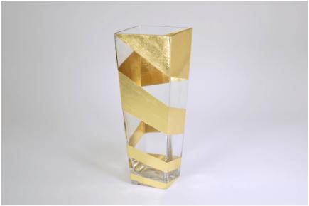 "Tamara Childs  Vases - Roadz Square Tapered Vase - 12"" - Gold $120.00"