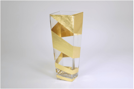 "Tamara Childs  Vases - Roadz Square Tapered Vase - 12"" - Gold $120.00"