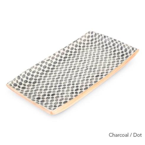 Terrafirma  Charcoal Medium Stacking Rectangular Tray - Dot $150.00