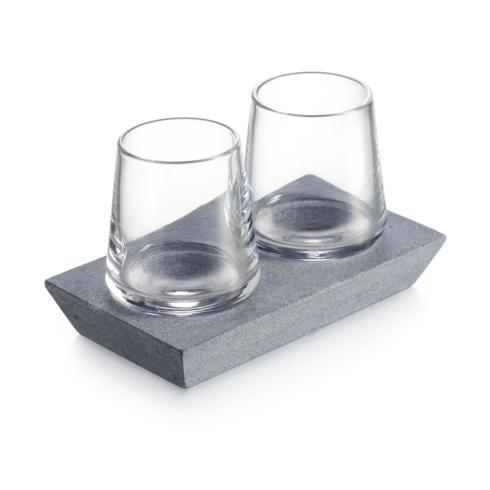 Simon Pearce  Alpine Whiskey Glass Set/2 w/ Soapstone Base $150.00