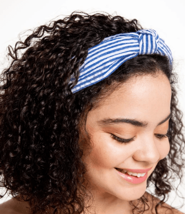 Seersucker Top Knot Headband - Blue collection with 1 products