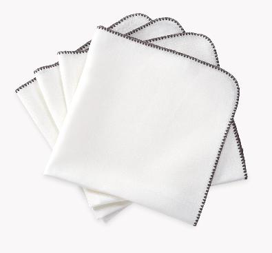 Matouk  Calypso Set/4 Dinner Napkins - White with Charcoal Stitching $124.00