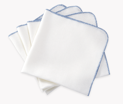 Matouk  Calypso Set/4 Dinner Napkins - White with Lake Stitching $124.00