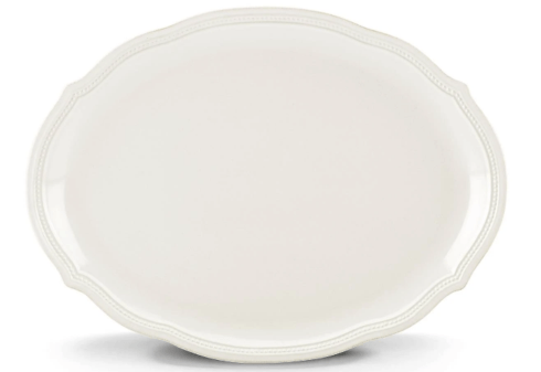 "Lenox  French Perle Bead White Oval Platter 16"" $99.95"