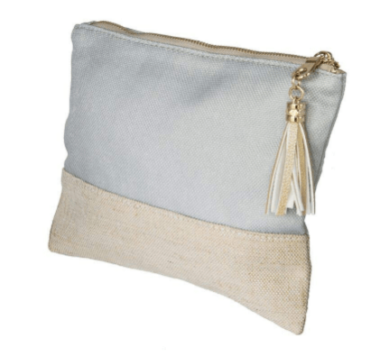 $35.00 Small Linen Pouch - Grey w/ 3 Initial Monogram