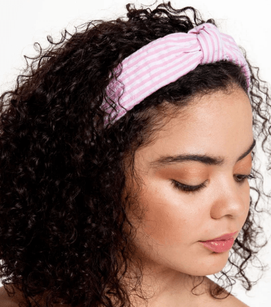 Seersucker Top Knot Headband - Pink collection with 1 products
