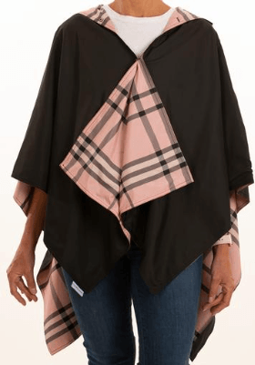 $65.00 Hooded Black & Pink Plaid