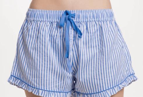Ruffle Short - Blue Stripe