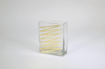 "Tamara Childs  Vases - Zig Zag Rectangular Vase - 6""x5""x2.5"" - Gold $45.00"