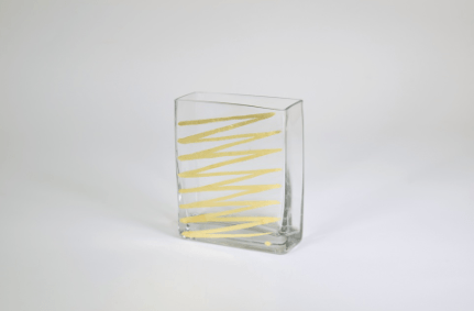 "Tamara Childs  Vases - Zig Zag Rectangular Vase - 6""x5""x2.5"" - Gold $45.00"