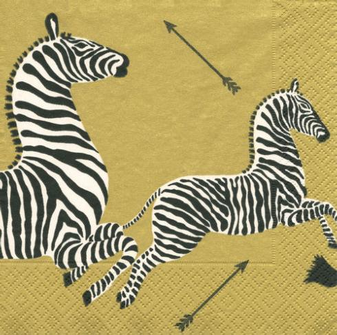 $12.50 Zebras Gold Paper Cocktail Napkins (40 per Package)
