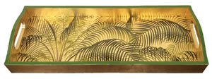 $130.00 Under the Palms Gold Lacquer Bar Tray