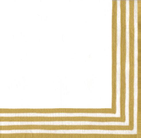 $7.00 Stripe Border Gold/White Paper Luncheon Napkins