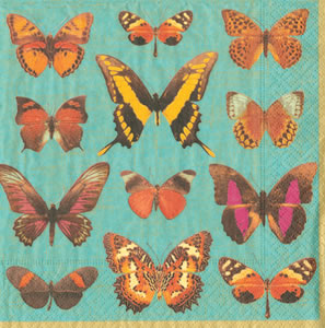 $12.50 Deyrolle Butterflies Turquoise Paper Cocktail Napkins (40 per Package)