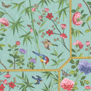 $12.50 Chinese Wallpaper Blue Paper Cocktail Napkins (40 per Package)