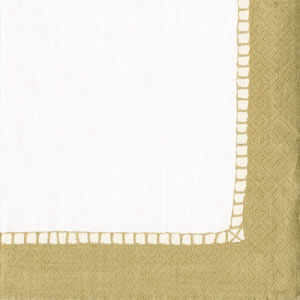 $12.50 Linen Gold Border Paper Cocktail Napkins (40 per Package)