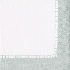 $12.50 Linen Silver Border Paper Cocktail Napkins (40 per Package)
