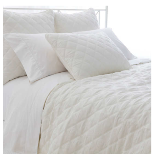 $240.00 Quilted Silken Solid Ivory Coverlet, Queen