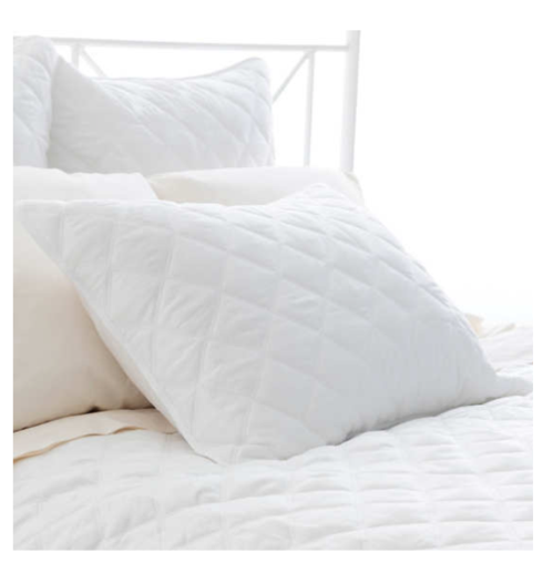 $32.00 Quilted Silken Solid Ivory King Sham