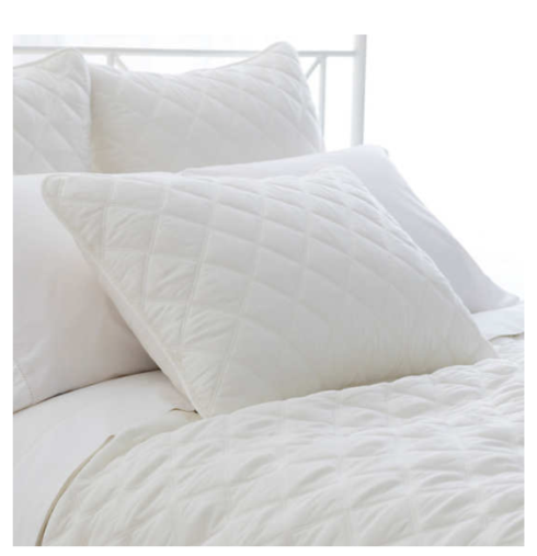 $240.00 Quilted Silken Solid White Coverlet, Queen