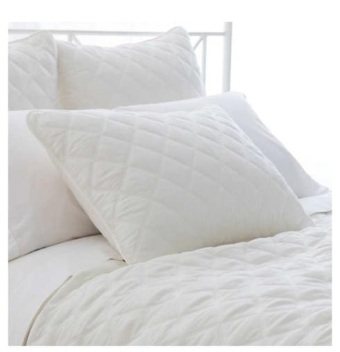 $28.00 Quilted Silken Solid White Standard Sham