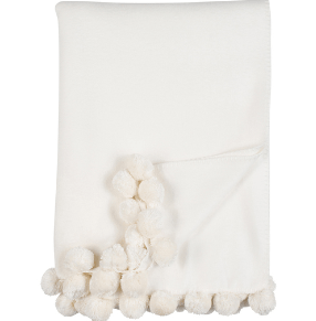$118.00 Pom Pom Throw, Ivory, 50x70