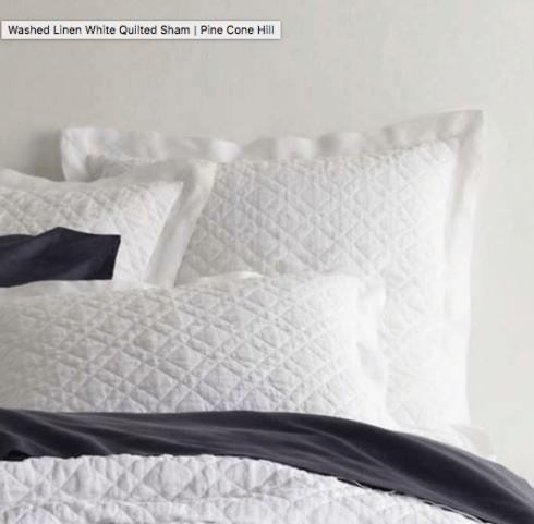 $40.00 Washed Linen Quilt Euro Sham, White, 26x26