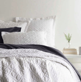 $260.00 Washed Linen Quilt, White, King