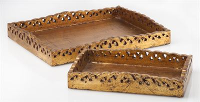 $155.00 Trays (set of 2) Wooden with Gold Finish