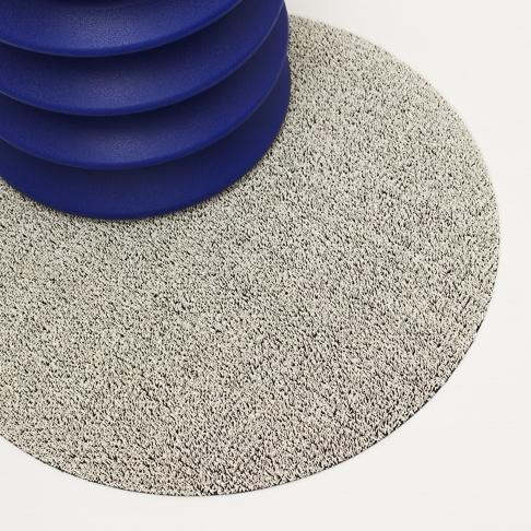 "$50.00 Shag Dot 24"" Round White Floor Mat"