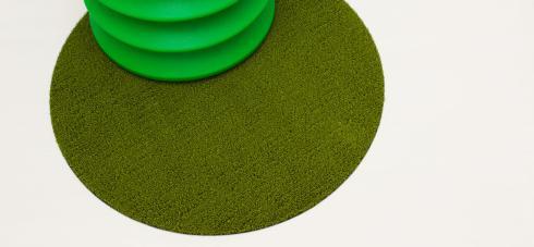 """$50.00 Shag Dot 24"""" Round Green Floor Mat"""