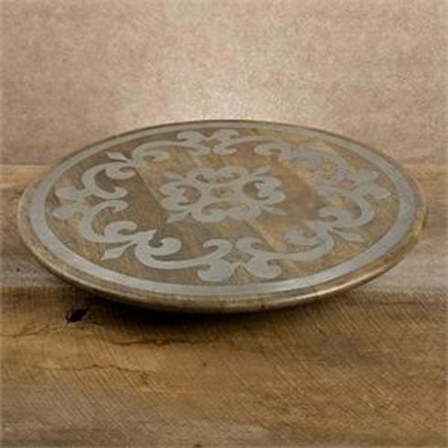 Gracious Goods  Wood and Metal Inlay Gracious Goods Mango w/Metal Inlay Lazy Susan $142.50
