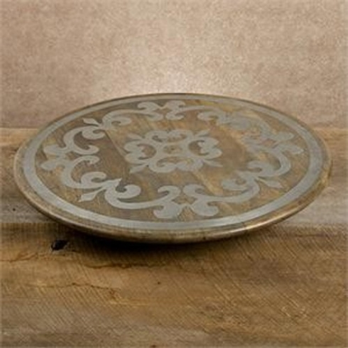 Gracious Goods   Wood Lazy Susan with Metal Inlay $198.95