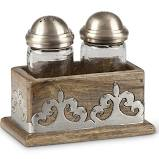 Wood w/metal Salt & Pepper