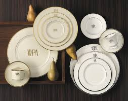 $59.00 Pickard Monogram Salad Plate White gold