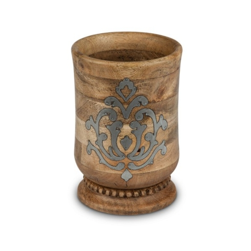 Gracious Goods  Wood and Metal Inlay Utensil Holder   $75.00