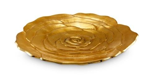 "Julia Knight Flowers Rose Rose 15"" Platter Gold $245.00"