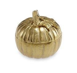 "$115.00 Pumpkin 5"" Covered Bowl Gold"
