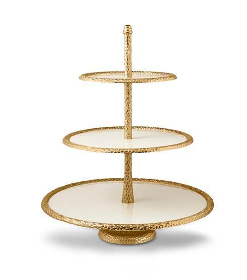 "$550.00 Florentine 18"" Three-Tiered Server Gold Snow"