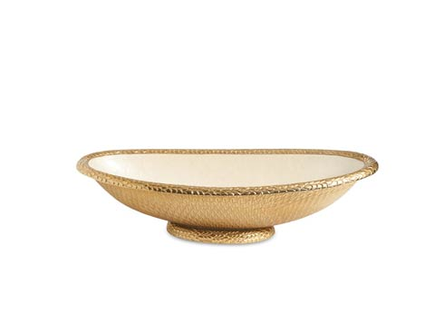 "$395.00 Florentine 24"" Oval Bowl Gold Snow"