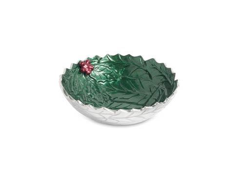 "$69.00 Holly Sprig 8.5"" Round Bowl Emerald"