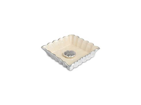 "$65.00 Peony 6.5"" Cocktail Napkin Holder & Weight Snow"