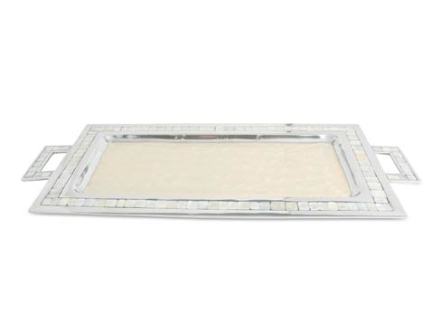"$250.00 Classic 25"" Rectangular Tray w/Handles Snow"