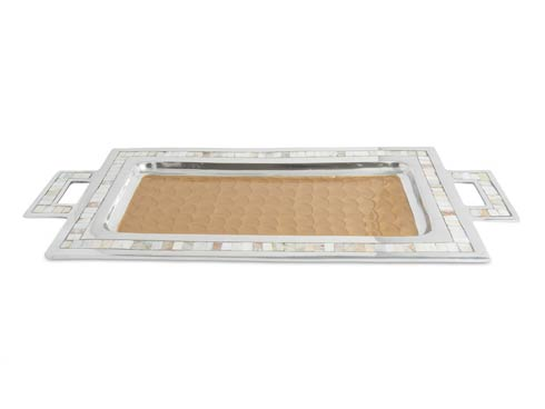 "$250.00 Classic 25"" Rectangular Tray w/Handles Toffee"