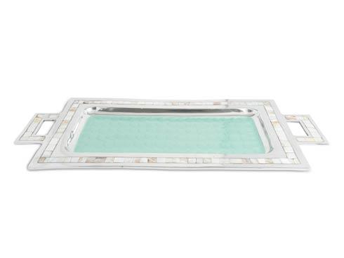 "$250.00 Classic 25"" Rectangular Tray w/Handles Aqua"